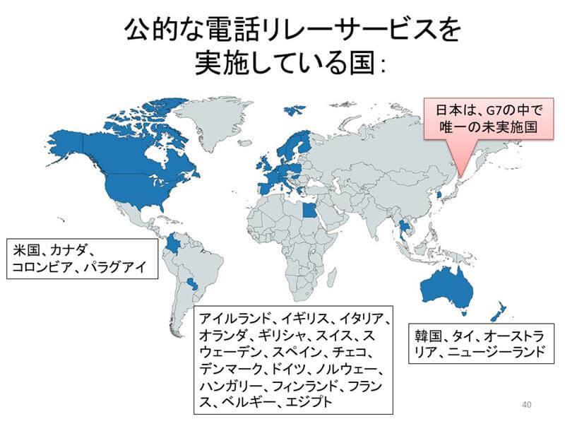 図2 公的な電話リレーサービスを実施している国